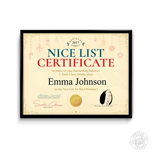 Nice List Certificate 2018